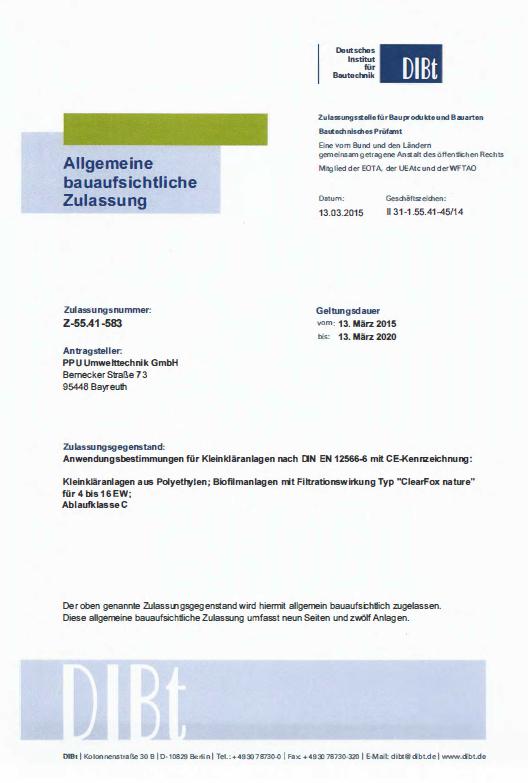 ClearFox Nature certificate