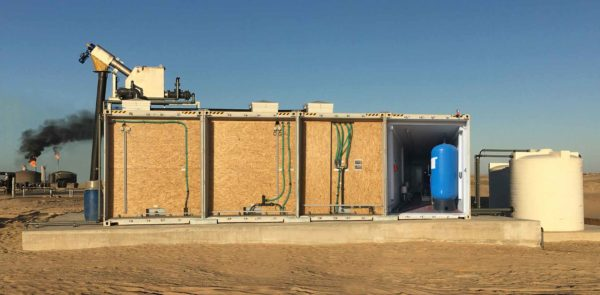 Containerized system for wastewater treatment inside